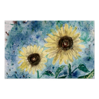 Big Sun, Sunflower painting poster print