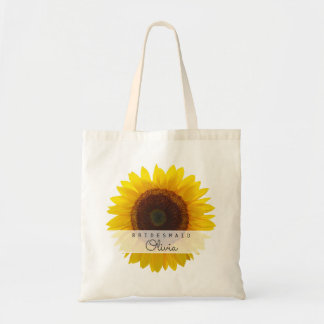 Big Sunflower Bridesmaid Personalized Tote
