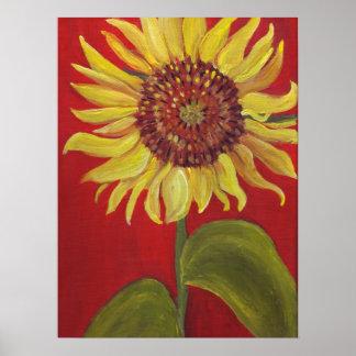Big Sunflower on RED Print