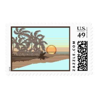 Big Sunset Hawaiian Surfer Postage Stamps