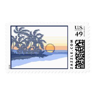 Big Sunset Hawaiian Surfer Postage Stamps