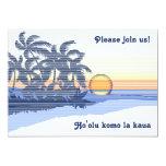 """Big Sunset Luau Invitations 5"""" X 7"""" Invitation Card"""