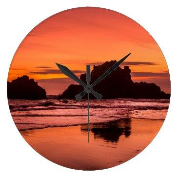 Beach Themed Big Sur Sunset Large Clock