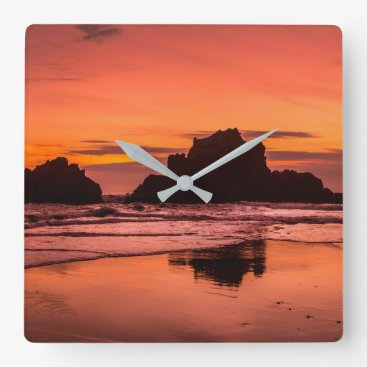 Beach Themed Big Sur Sunset Square Wall Clock