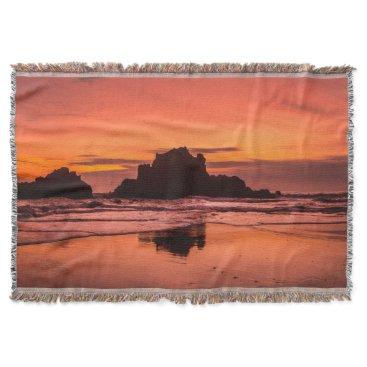 Beach Themed Big Sur Sunset Throw Blanket