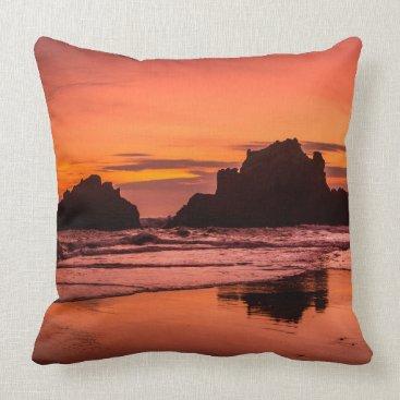 Beach Themed Big Sur Sunset Throw Pillow