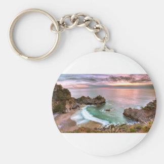 Big Sur Waterfall Sunset Key Chain