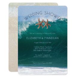 Big Surf Starfish Couple Wedding Shower Invitation