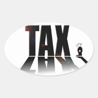 Big Tax small man Oval Sticker