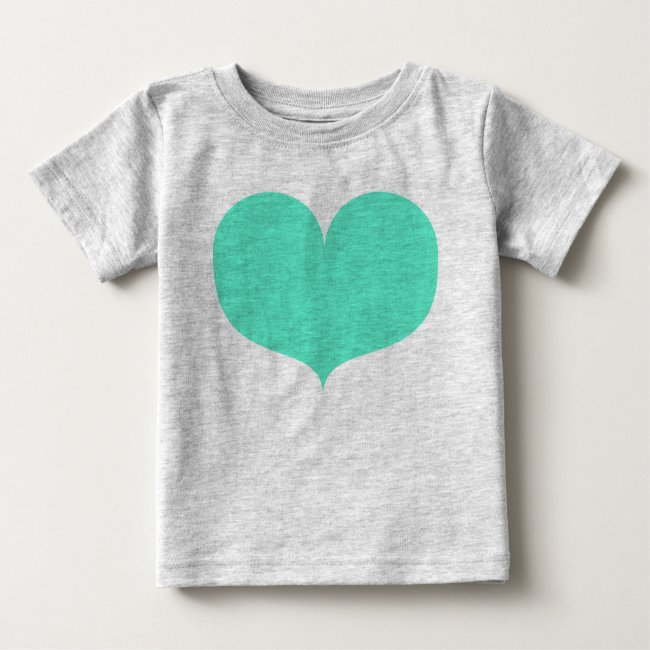 Big Teal Heart Baby T-Shirt