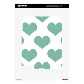 Big teal heart pattern fun girly happy kids child skins for iPad 3