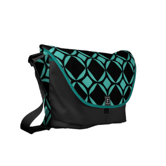 Big Teal Mod Diamonds Pattern Messenger Bag