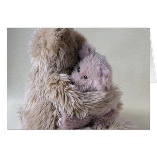 big teddy bear holds little bear greeting card