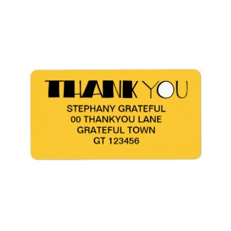 Big Thank You black Address Label label