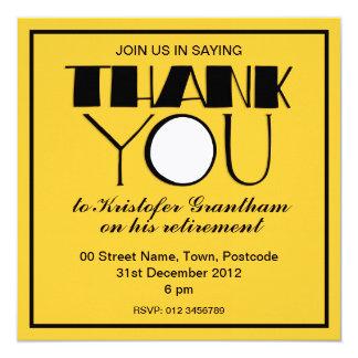 Big Thank You black Retirement Invitation