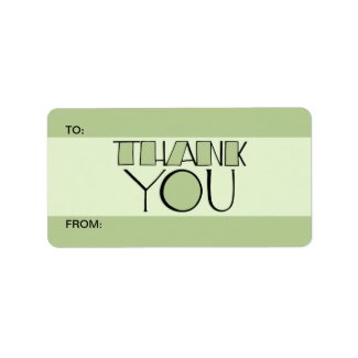 Big Thank You green Gift Tag label