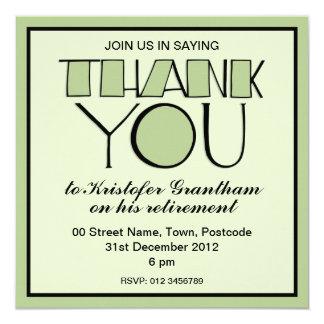Big Thank You green Retirement Invitation