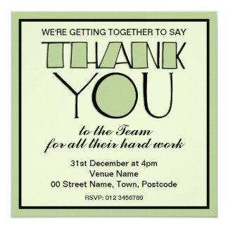 Big Thank You green Thank You Team Invitation