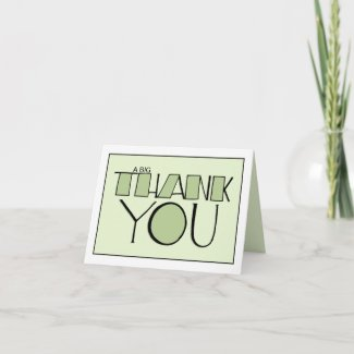 Big Thank You green white Note Card card