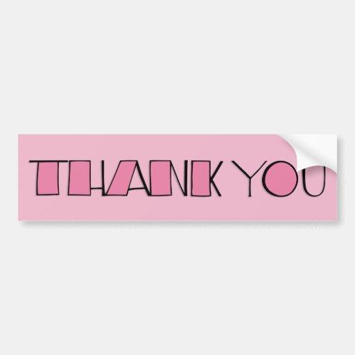 Big Thank You pink Bumper Sticker Car Bumper Sticker