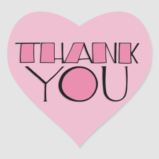 Big Thank You Pink Heart Sticker