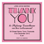Big Thank You pink Retirement Invitation