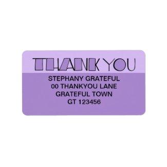 Big Thank You purple Address Label label