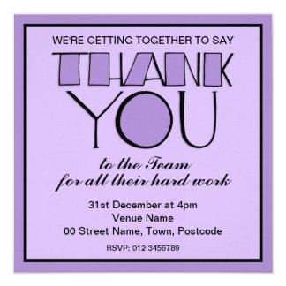 Big Thank You purple Thank You Team Invitation
