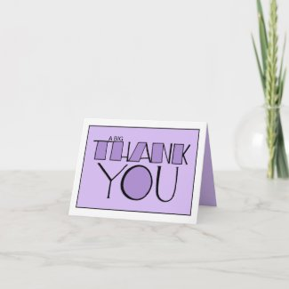 Big Thank You purple white Note Card card