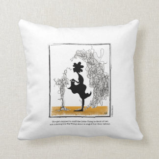 BIG THING cartoon by Ellen Elliott Throw Pillow