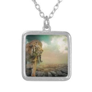 Big Tiger Silver Plated Necklace