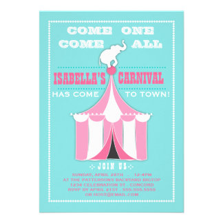 Big Top Carnival Birthday Party Turquoise Pink Announcement