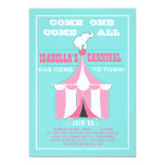 Big Top Carnival Birthday Party Turquoise | Pink 5x7 Paper Invitation Card