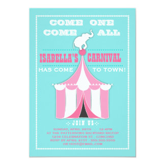 Big Top Carnival Birthday Party Turquoise | Pink Announcement