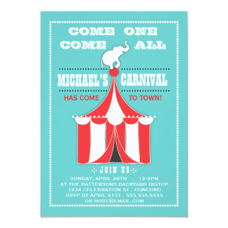 Big Top Carnival Birthday Party Turquoise | Red 5x7 Paper Invitation Card