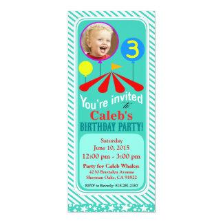 Big Top Circus Photo Fun Birthday Party   aqua 4x9.25 Paper Invitation Card