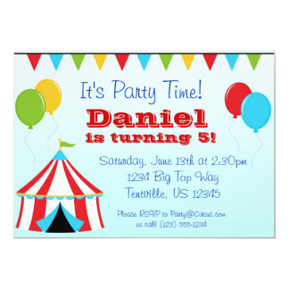 Big Top n Balloons Carnival Circus Birthday Party 5x7 Paper Invitation Card