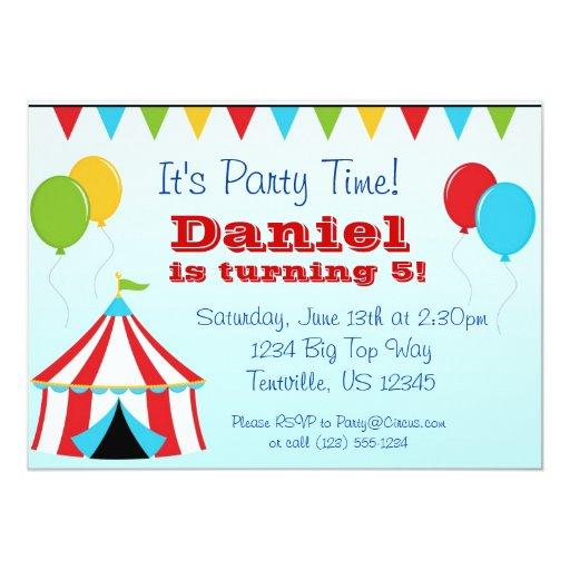 Big Top n Balloons Carnival Circus Birthday Party Card ...
