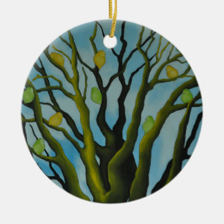 Big Tree With Green wild duck Yellow Bird's Ceramic Ornament