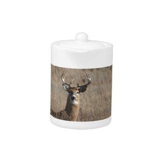 Big Trophy Buck Deer in Tall Grass Camo Teapot