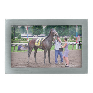 Big Trouble wins the 100th Sanford Stakes Rectangular Belt Buckles