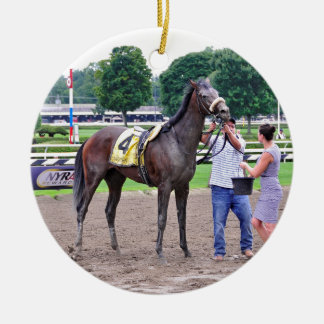 Big Trouble wins the 100th Sanford Stakes Ceramic Ornament