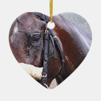 Big Trouble wins the 100th Sanford Stakes Double-Sided Heart Ceramic Christmas Ornament