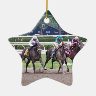 Big Trouble wins the 100th Sanford Stakes Double-Sided Star Ceramic Christmas Ornament