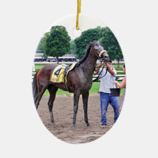 Big Trouble wins the 100th Sanford Stakes Double-Sided Oval Ceramic Christmas Ornament