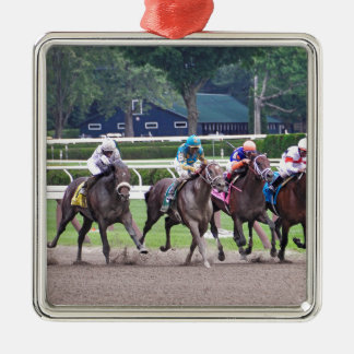 Big Trouble wins the 100th Sanford Stakes Square Metal Christmas Ornament