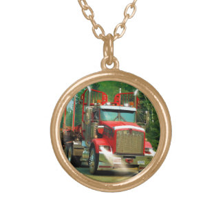 Big Truck and Highway Art for Lorry-lovers Gold Plated Necklace