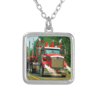 Big Truck and Highway Art for Lorry-lovers Silver Plated Necklace