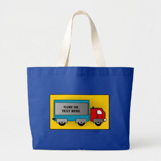 Big Truck - Freight Carrier, Add Your Name or Text Large Tote Bag