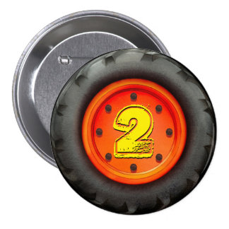 Big Truck Wheel 2nd Birthday Party Pinback Buttons